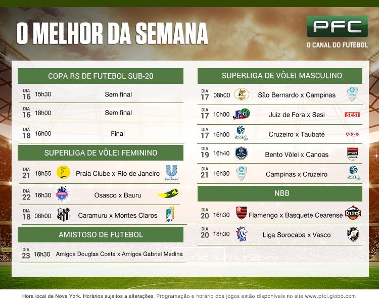 Tabela de jogos que serão transmitidos pelo PFC de 16 a 23 de dezembro
