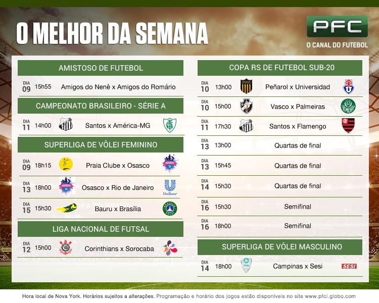 Tabela completa dos jogos que serão transmitidos ao vivo pelo PFC de 09 a 16 de dezembro