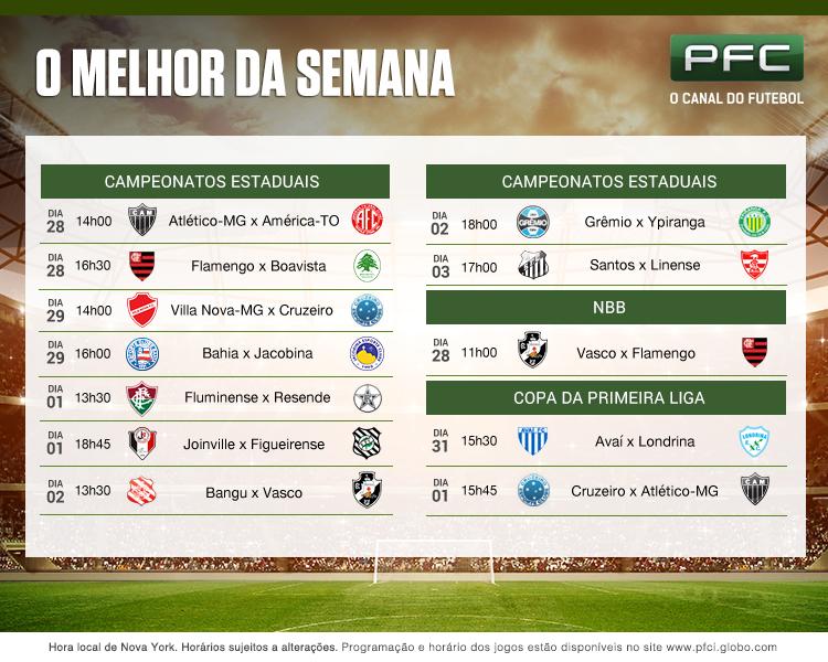 Tabela completa dos jogos que serão transmitidos ao vivo pelo PFC de 27 de janeiro a 3 de fevereiro
