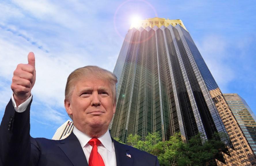 Donald Trump diante da Trump Tower