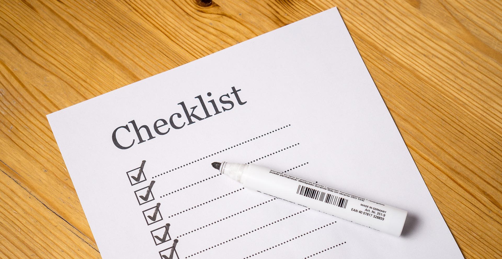 Faça um checklist das peças importantes para comprar