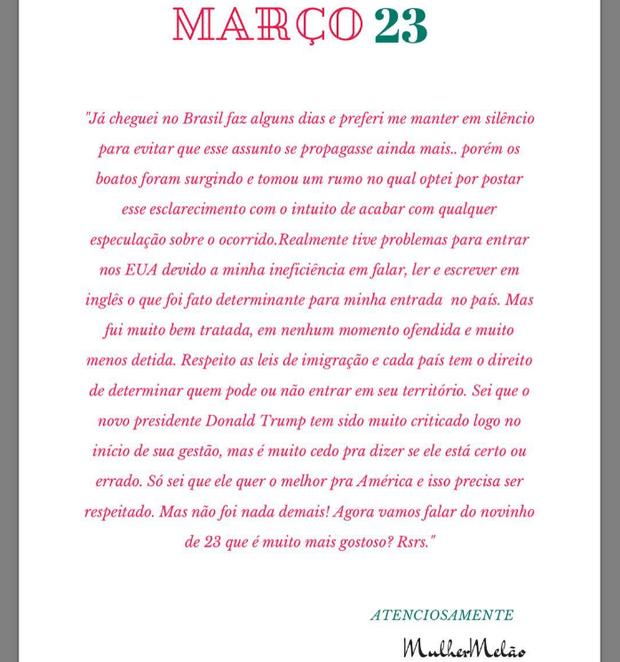 Mulher Melão postou comunicado no Instagram sobre o ocorrido