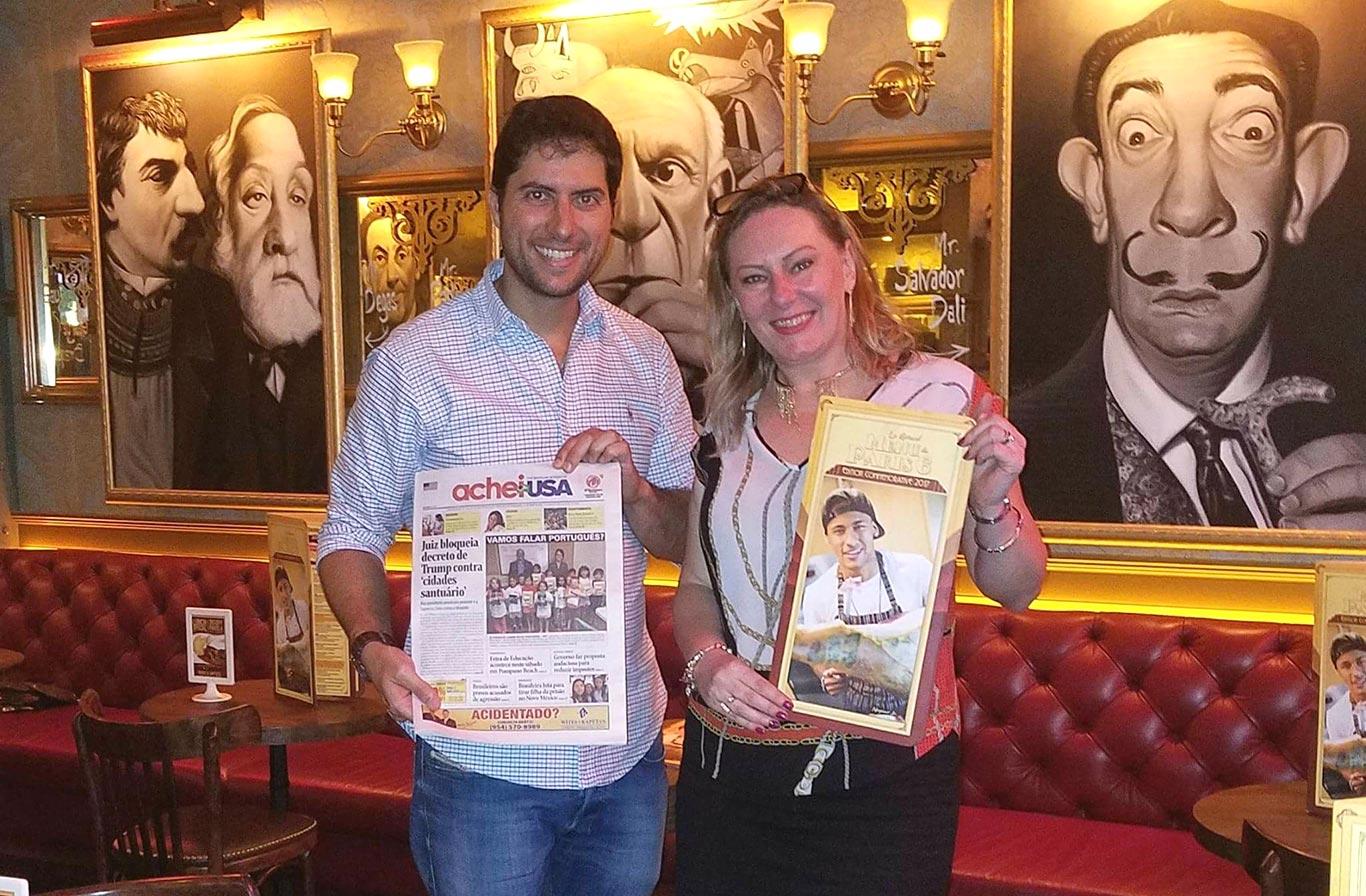 Esterliz Nunes, diretora de Marketing do AcheiUSA, com Michel Vigano, sócio-proprietário do Paris 6