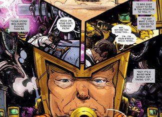 Quadrinho que mostra o personagem de topete loiro e anti-imigrante M.O.D.A.A.K, que leitores vem apontando como sendo inspirado em Trump