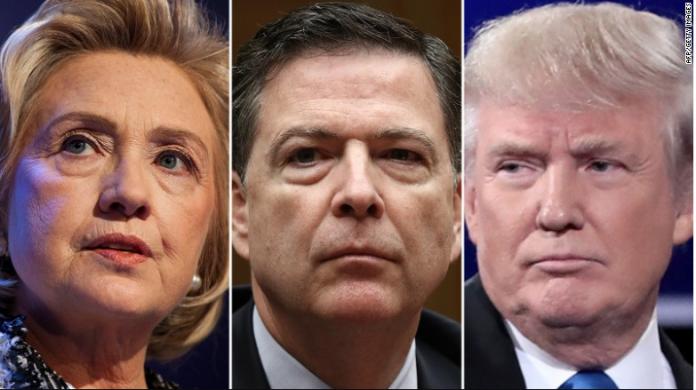 O diretor do FBI, James Comey (centro), é filiado ao Partido Republicano e está sendo acusado de tentar mudar o rumo das eleições na reta final