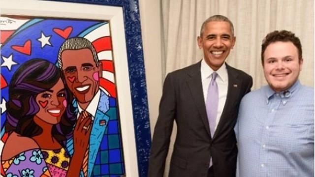 Filho de Romero Britto entregou o quadro ao presidente