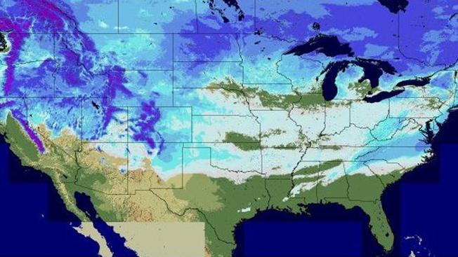 Pontos brancos do mapa mostram a neve em 49 estados americanos