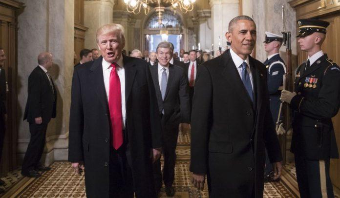 Trump e Obama no dia da posse do republicano