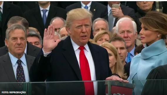 Trump tomou posse no final da manhã desta sexta-feira 20 em Washington D.C.