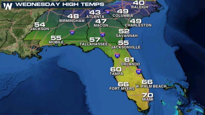 Mapa mostra temperaturas na FL