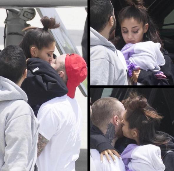 Ariana Grande foi recebida pelo namorado depois da tragédia em Manchester FOTO Splash News