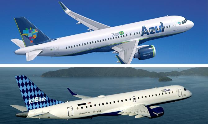 Azul e JetBlue anunciam compartilhamento de voos