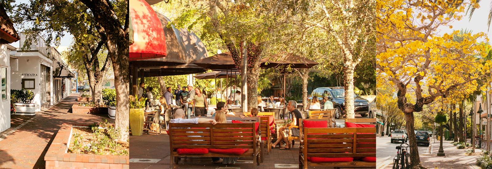 Coconut Grove tem ruas arborizadas e charmosas