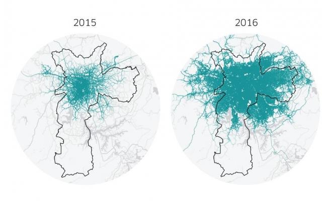Mapa mostra evolução das viagens do Uber entre 2015 e 2016