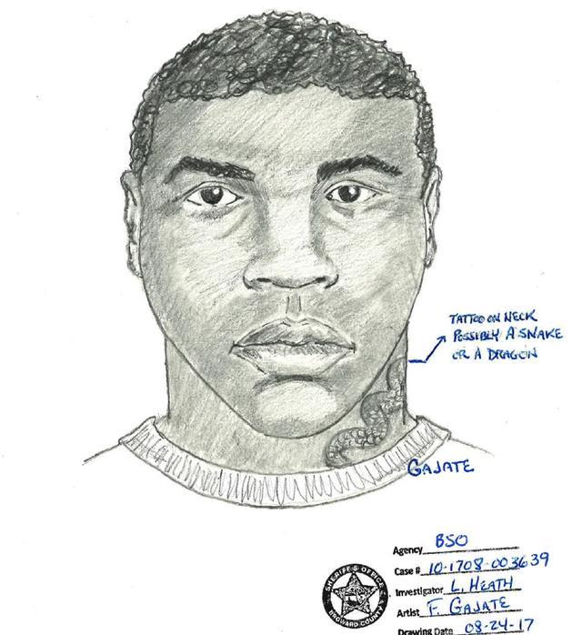 Polícia divulgou o retrato falado do suspeito