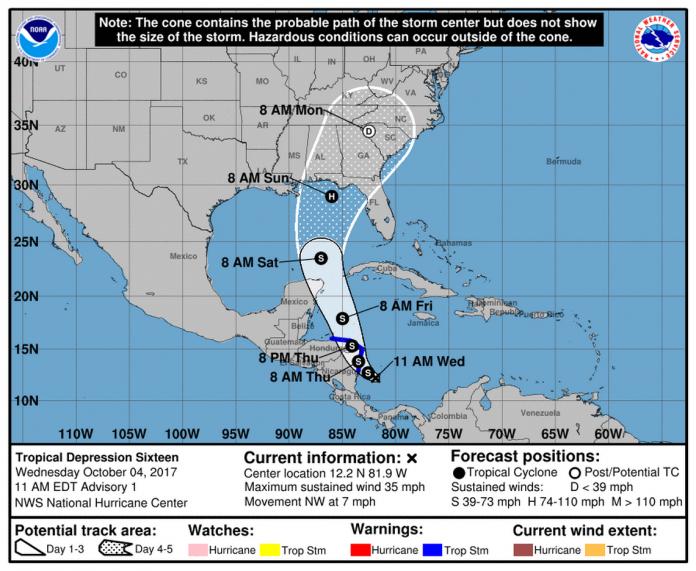 Boletim do NHC mostra tempestade tropical que se formou no Caribe