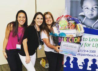 Andrea (ao lado da cesta) e as assistentes Samira Pereira e Justine Camburn