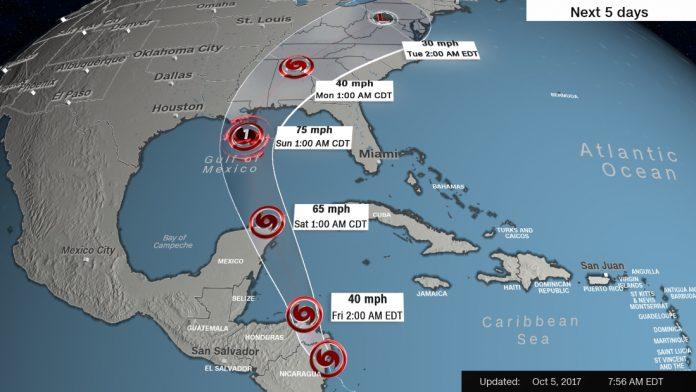 Trajetória prevista para a tempestade tropical Nate