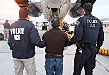 Polícia de imigração leva até o avião homem para ser deportado