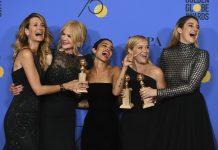 Laura Dern, Nicole Kidman, Zoe Kravitz, Reese Witherspoon e Shailene Woodley comemoram Globos de Ouro Foto Jordan Strauss Invision AP