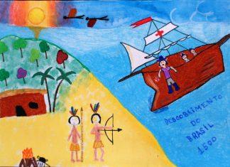 "Desenho de Giuliana Jasana Follmann Lopez (Uruguai) com o tema ""Descobrimento do Brasil 1500"""