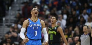 Russell Westbrook estabeleceu uma marca atingida por poucos jogadores de basquete em todos os tempos: 100 partidas oficias da NBA com três duplos