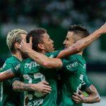Jogadores do Palmeiras-comemoram gol contra o novorizontino