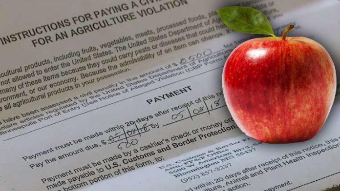 Passageira levou multa de $500 por maçã