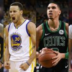 LeBron James (Cleveland Cavaliers), Stephen Curry (Golden State Warriors), Jayson Tatum (Boston Celtics) e James Harden (Houston Rockets)