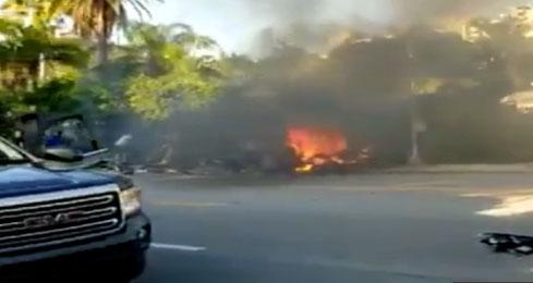 Tesla pegou fogo após o acidente