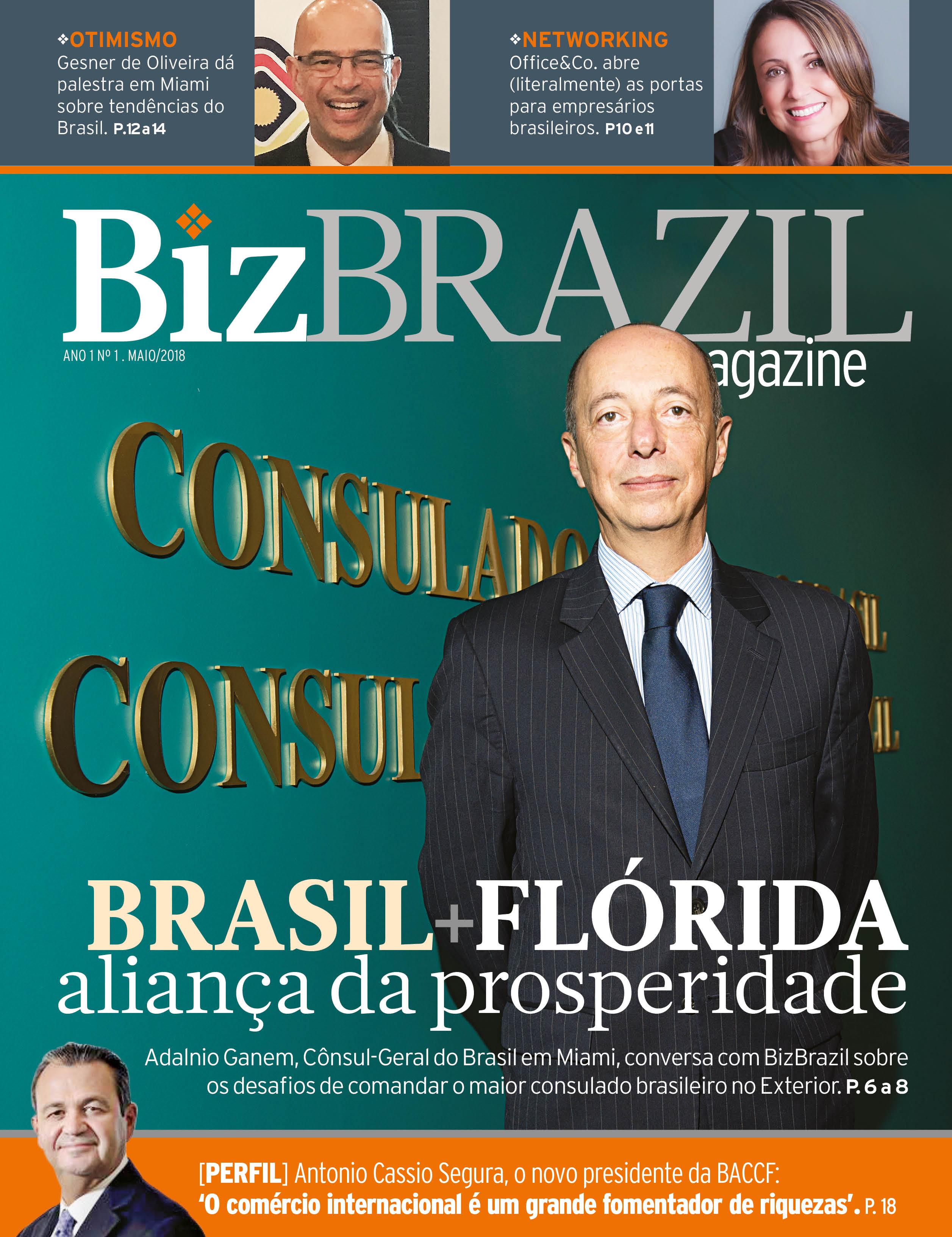 5b2b1aa5b09 Capa da edição de lançamento da BizBrazil Magazine
