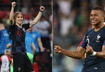 Modric (Croácia) x Mbappe (França) na final da Copa do Mundo