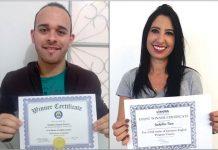 Matheus e Jackeline com certificado