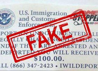 Flyer falso oferece $100 a quem entregar indocumentados