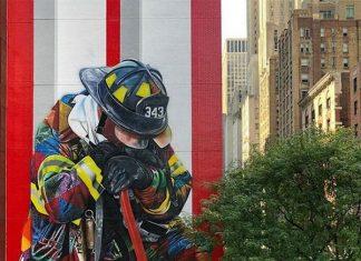 Mural do artista brasileiro Eduardo Kobra em Nova York homenageia bombeiros que trabalharam nos ataques terroristas de 11 de Setembro (Foto Reprodução Instagram kobrastreetart)