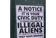 Panfleto incentivava cidadãos a denunciarem imigrantes
