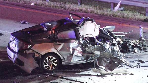 Carro de Flavia ficou completamente destruído na colisão
