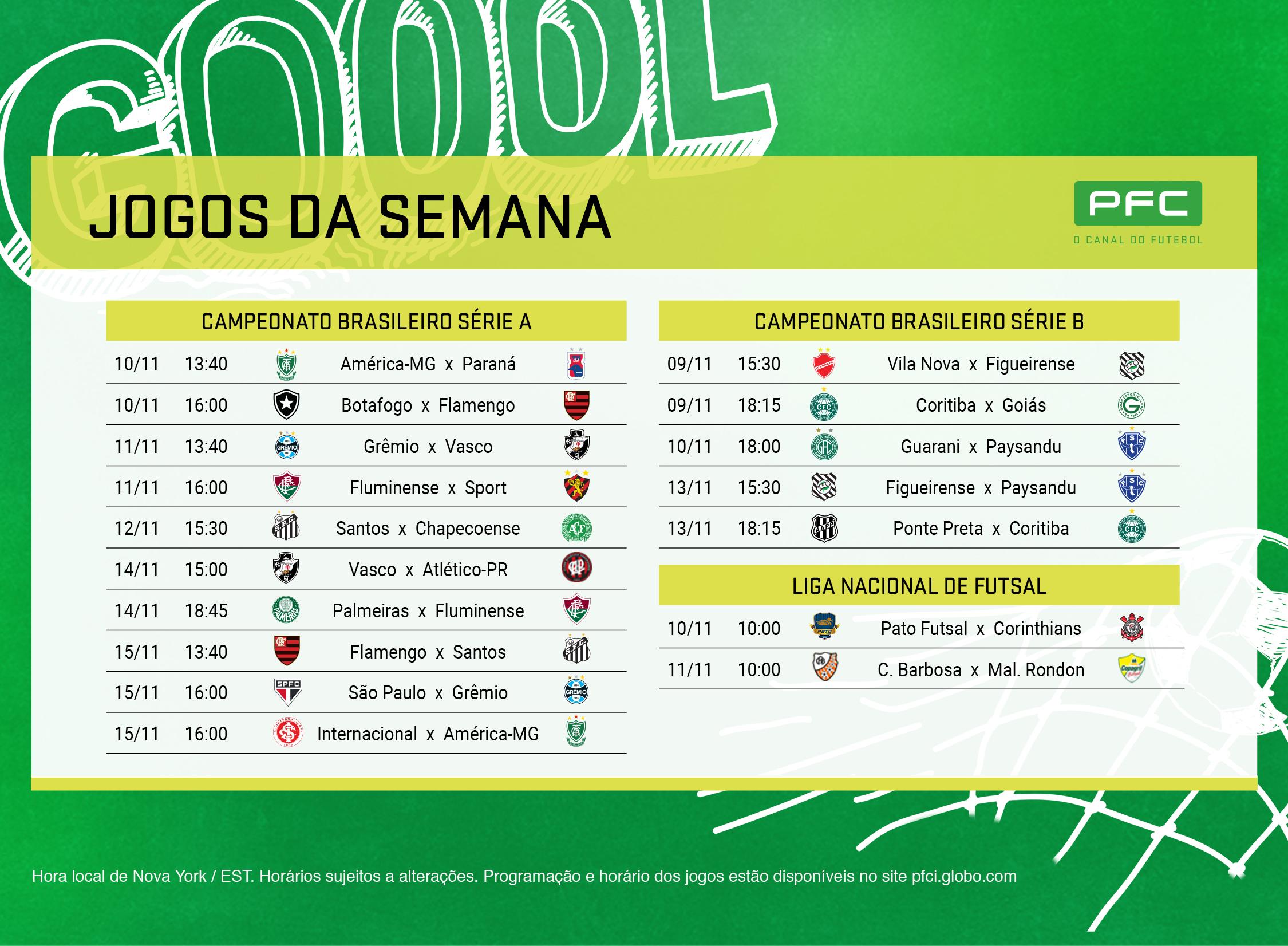 Tabela completa dos jogos que serão transmitidos AO VIVO pelo PFC de 9 a 15 de novembro
