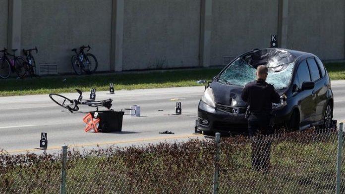 Uma ciclista foi morta e outros cinco feridos no acidente FOTO Joe Cavaretta - Sunsentinel