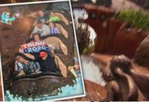 Visitante do parque foi expulso por carregar cartaz de Trump