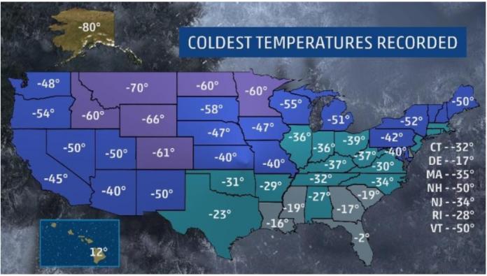 Onda de frio intenso atinge os EUA FOTO The Weather Channel