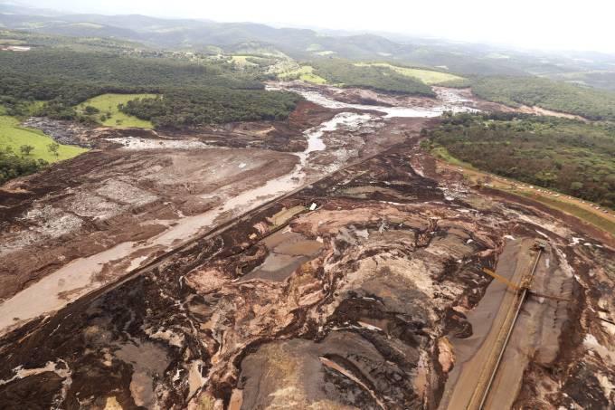 Vista aérea da região afetada pelo rompimento da barragem da mina Córrego do Feijão, em Brumadinho (MG) (Andre Penner AP)