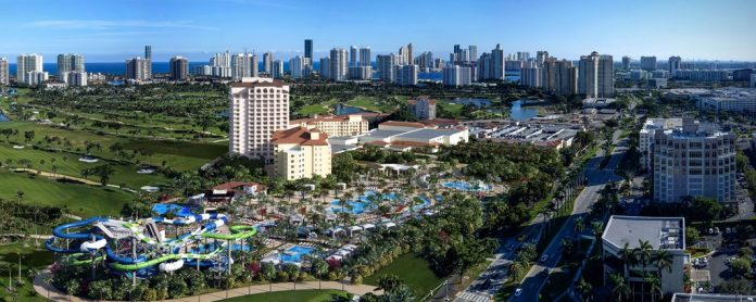 Vista aérea do parque aquático de Aventura que será inaugurado no verão deste ano