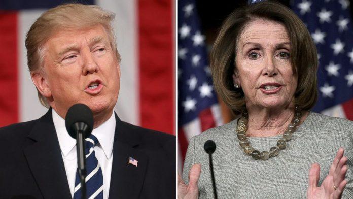 Presidente Donald Trump e a presidente da Câmara dos Representantes Nancy Pelosi discordam da questão da construção do muro