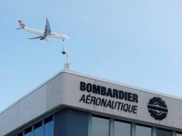 Avião sobrevoa fábrica da Bombardier em Montreal, Canadá (Foto: Reuters/Christinne Muschi)