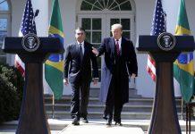 Trump e Bolsonaro na Casa Branca FOTO Estadão Conteúdo