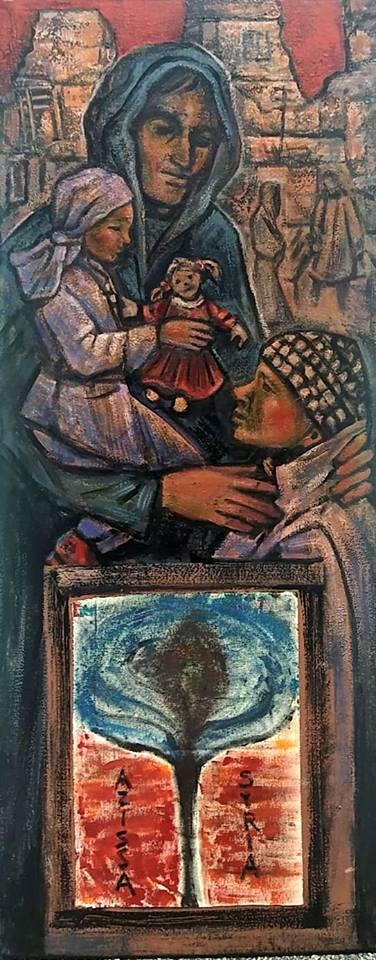 A tela 'Refugees', a mais recente pintada por Pedro Lázaro