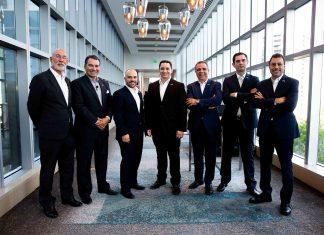 Da esquerda para a direita - Juliano de Oliveira, Manoel Suhet, Zeno Silva, Antonio Miranda, Igor Pipolo, Alberto Suannes e Fernando Mello: Diretoria do Global Business Institute (Foto AcheiUSA/Demetrius Borges)