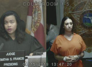 Gina Cody teve audiência e fiança fixada em $30 mil FOTO Divulgação da Corte