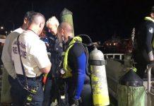 Mergulhadores da polícia encontraram os corpos próximo ao local do acidente FOTO Miami-Dade Fire Rescue